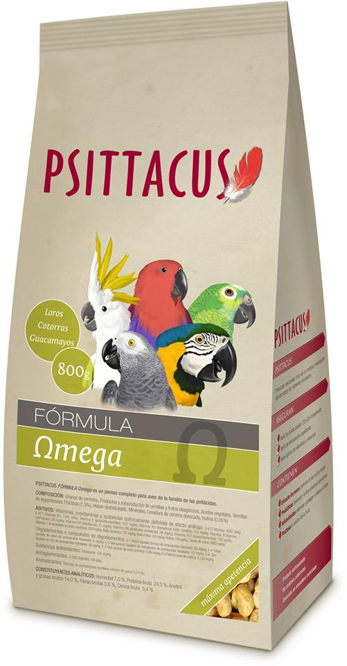 Psittacus Pienso Omega 800gr